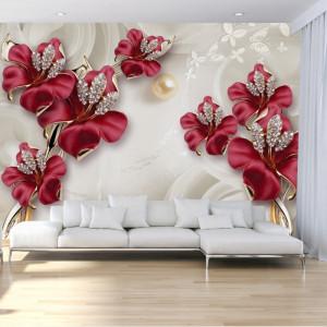Fototapet 3D Flori Rosii Bijuterii De Perete OPON24