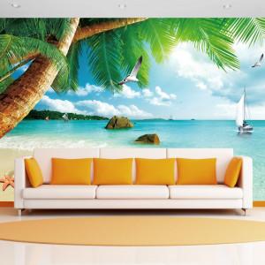 Fototapet 3D Plaja cu Palmieri si Stelute de Mare BES300