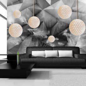 Fototapet 3D Sfere Texturate si Fundal Ciment BES105