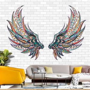 Fototapet Aripi Colorate pe Zidarie de Caramida Alba BES312