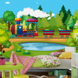 Fototapet Camere Copii, Trenulet Prin Padure de Brazi FCV3