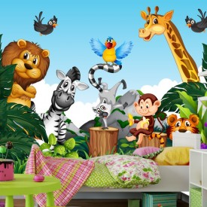 Fototapet Camere pentru Copii, Animalute in Jungla CG5