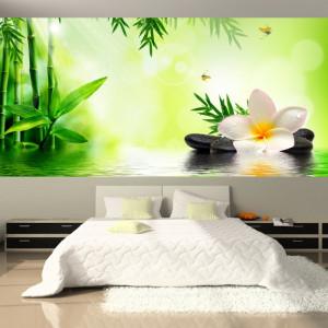 Fototapet Floare Cu Pietre Spa Si Bambus OPO39