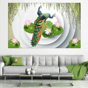 Tablou Canvas 2 Pauni In Decor Modern cu Flori de Lotus FSHB44