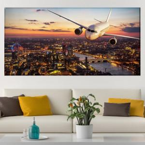 Tablou Canvas Avion In Zbor Deasupra Londrei AMA20