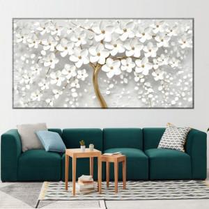 Tablou Canvas Copacul Auriu cu Flori Albe OPOS67
