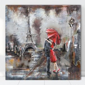 Tablou Canvas Cuplu cu Umbrela Rosie FAP34