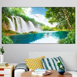Tablou Canvas Peisaj Feeric Cascada cu Lebede OPO101T