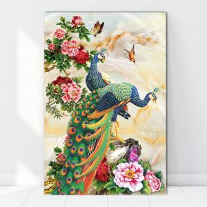 Tablou Canvas Pauni cu Bujori BES42