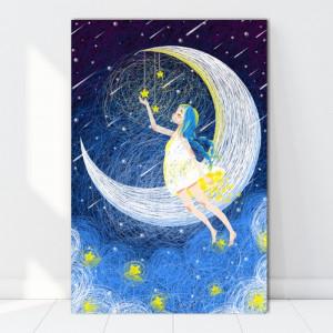 Tablou Canvas Ilustratie Fetita pe Luna FZT3