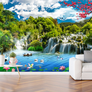 Fototapet 3D Cascada in Peisaj de Primavara OPO5331