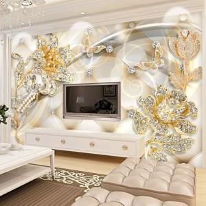 Fototapet 3D Flori cu Fluturi de Cristal PFT14