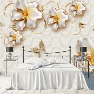 Fototapet 3D Flori cu Lebede BES152