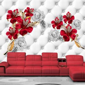 Fototapet 3D Flori Rosii cu Bijuterii Argintii si Cristale PFT3