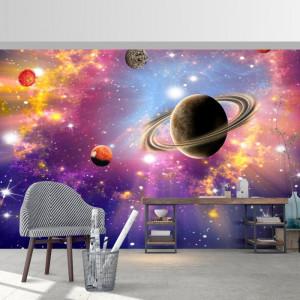Fototapet 3D Fundal Cosmic Luminos, Univers cu Planete si Stele OUS35