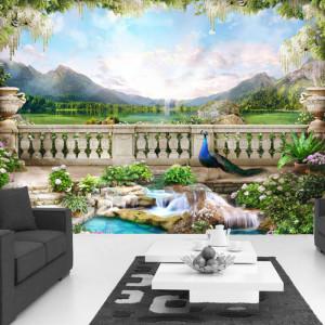 Fototapet 3D Gradina Exotica cu Pauni MDP138