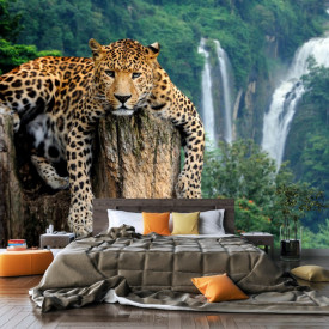 Fototapet 3D Leopard pe Buturuga in Jungla ATGR109