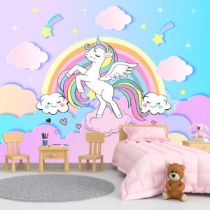 Fototapet Unicorn Printre Norisori cu Curcubeu DGP23
