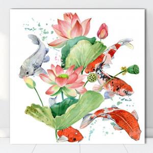 Tablou Canvas Flori de Lotus cu Pesti Koi SEF83