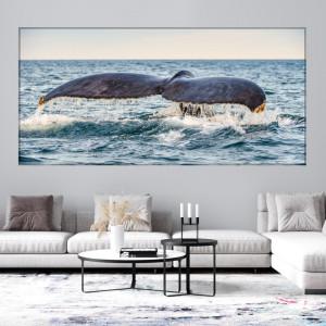 Tablou Canvas Peisaj Marin Fabulos cu Coada de Balena AQF73