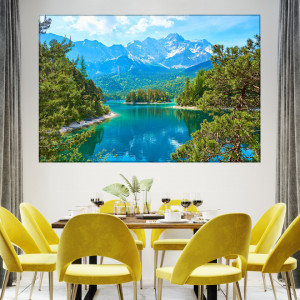 Tablou Canvas Peisaj Pitoresc de Vara cu Lac si Munte TOPSN30