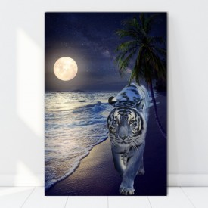 Tablou Canvas Tigru La Malul Marii In Miez de Noapte ATGR97