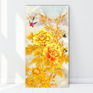 Tablou Canvas Bujori Aurii BES47