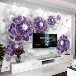 Fototapet 3D Bijuterii De Perete Mov Cu Cristale PFT30