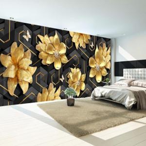 Fototapet 3D Flori Aurii cu Fundal Negru Futurist BES119