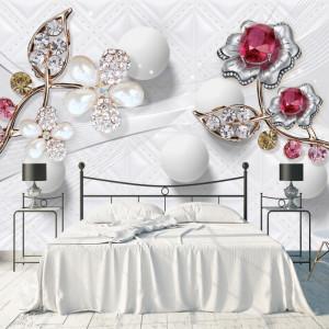 Fototapet 3D Flori cu Cristale si Sfere BES118