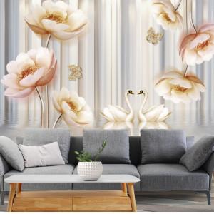 Fototapet 3D Flori Mari cu Fluturi si Lebede BES27