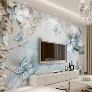 Fototapet 3D Flori Si Fluturi PFT7