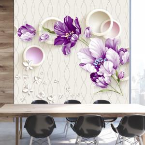 Fototapet 3D Flori Violet OPO15