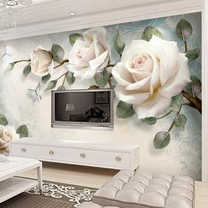 Fototapet 3D Trandafiri Albi OPO16