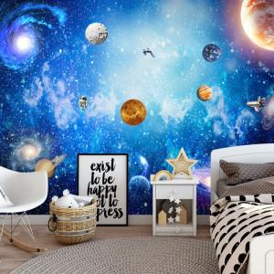 Fototapet 3D Univers Mirific cu Planete si Astronaut OUS48