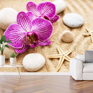 Fototapet Orhidee cu Pietre Si Stelute De Mare pe Nisip BDS27