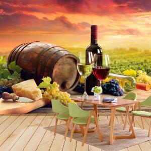 Fototapet Perete Butoi cu Pahare de Vin si Struguri VWS111