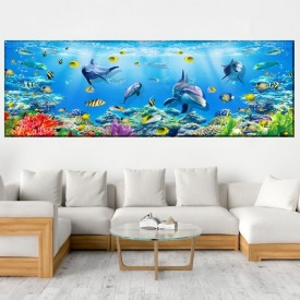 Tablou Canvas Delfini Printre Pesti Viu Colorati AQF56