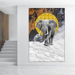 Tablou Canvas Elefant cu Textura Moderna ASJ21