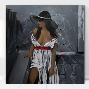 Tablou Canvas Femeie Seducatoare cu Palarie Neagra FAP37