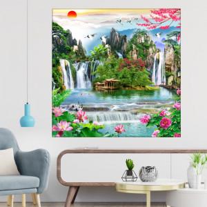 Tablou Canvas Ilustratie 3D Peisaj de Vara cu Cascade si Flori OPO5329