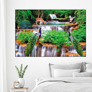 Tablou Canvas Pauni Frumosi cu Cascade de Vis OPO5335