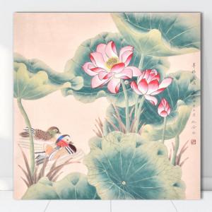 Tablou Canvas Pereche de Rate Mandarine Printre Nuferi SEF5