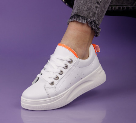Pantofi sport alb/portocaliu cod:LLQ203