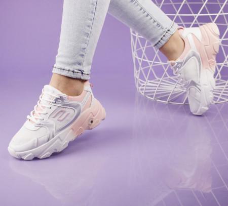 Pantofi sport alb/roz cod:5506R