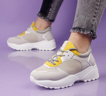 Pantofi sport crem cod:LL1753C