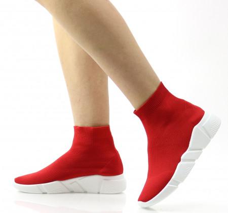 Pantofi sport rosii din material textil