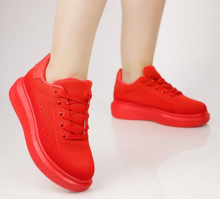 Pantofi sport dama din material textil rosii COD:99-7
