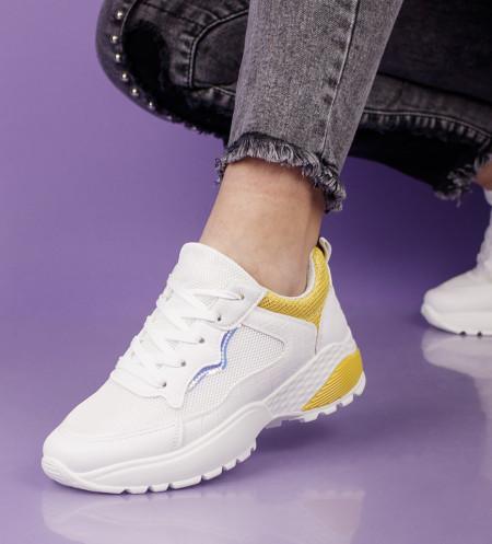 Pantofi sport alb/galben cod:SL15G
