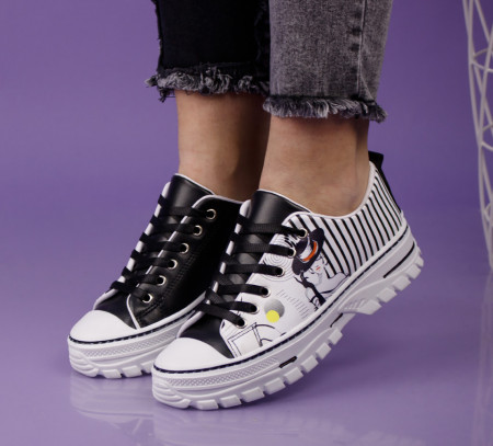 Pantofi sport alb/negru cod:C108